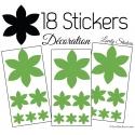 18 Stickers Fleurs 10CM à 3CM - Autocollant décoration Fleur