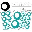 24 Stickers Ronds Annees 80 Mixte - Autocollant
