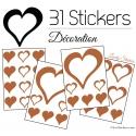 31 Stickers Coeurs 10CM 5CM 3CM - Autocollant décoration Coeurs Creux
