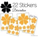 22 Fleurs 10CM 5CM 3CM - Vinyle autocollant de décoration motif fleur avec pétale coeur