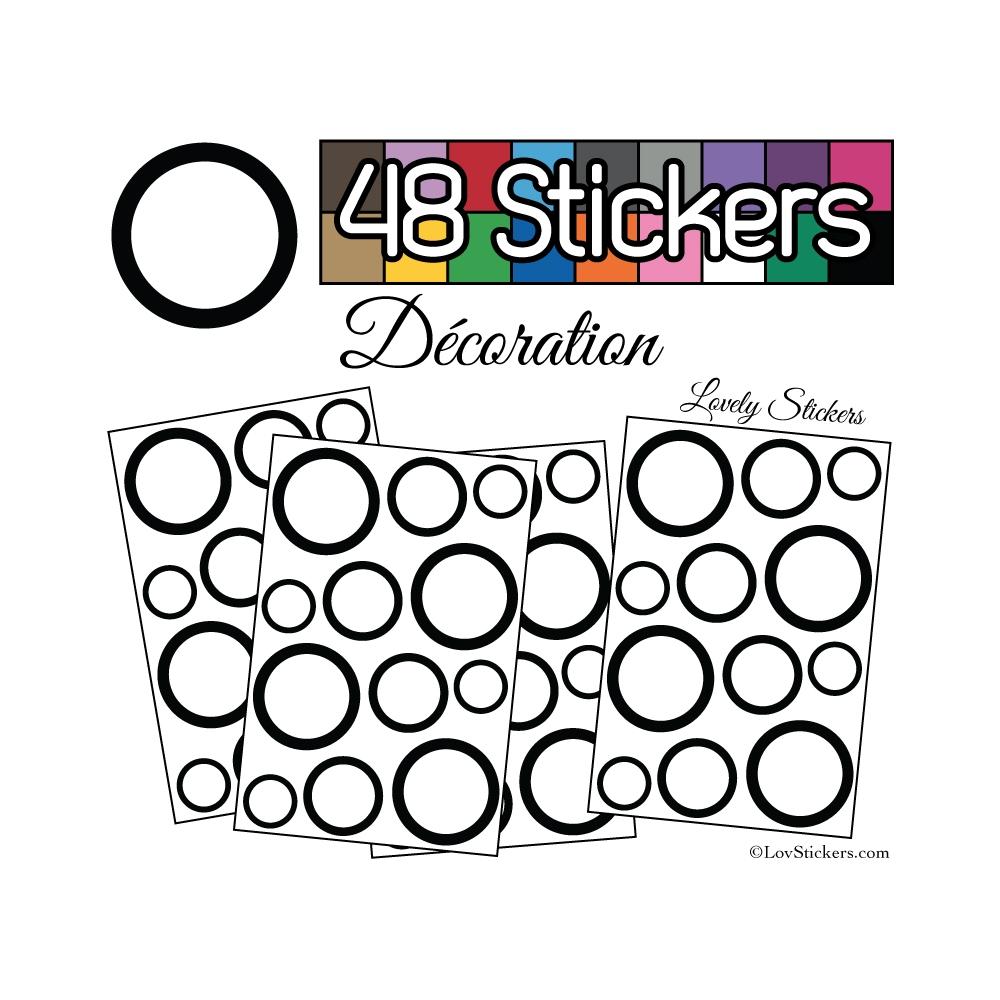 48 Ronds Creux Mixte Stickers - Autocollant de decoration
