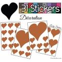 31 Stickers Coeurs 10CM 5CM 3CM - Autocollant décoration
