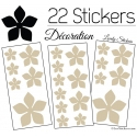 22 Stickers Fleurs 8CM 5CM 3CM - Vinyle Autocollant decoration
