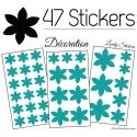 47 Stickers Fleurs 6CM à 3CM - 6 Petales - Autocollant décoration