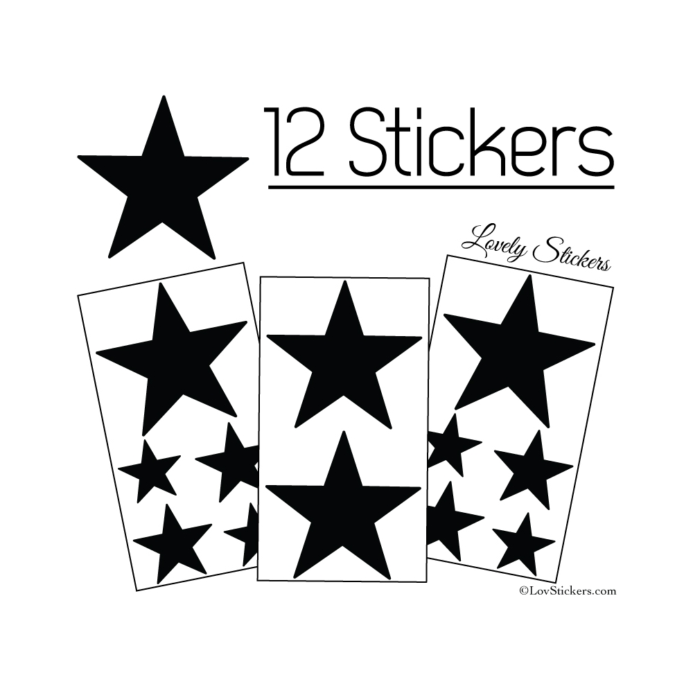12 Etoiles - Stickers de Decoration Autocollant