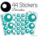 44 Stickers Ronds Bulles - Autocollant Décoration