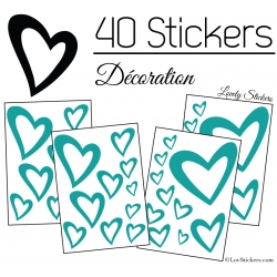 40 Stickers Coeurs  8CM à 2CM - Autocollant Vinyle de décoration Pop Art