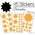 45 Soleils Etoiles Mixte - Autocollant decoration etoiles 10 branches