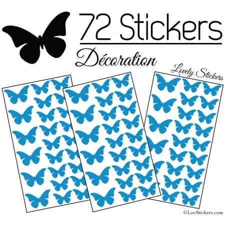 72 Stickers Papillons 4 et 3CM - Autocollant decoration Papillon Modèle No2