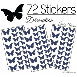 72 Stickers Papillons 4 et 3CM - Autocollant decoration Papillon Modèle No2