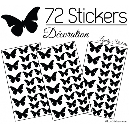 72 Stickers Papillons 4 et 3CM - Autocollant decoration Papillon