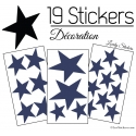 19 Stickers Etoiles Mixte - Autocollant Décoration appartement