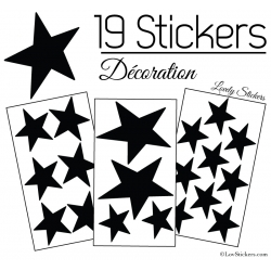 19 Stickers Etoiles Mixte - Autocollant Décoration appartement