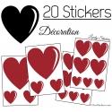 20 Stickers Coeurs - Autocollant décoration