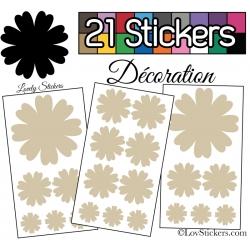 21 Stickers Fleur Mixte - Autocollant Décoration Intérieur