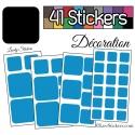 41 Stickers Carrés Mixte - Autocollant Décoration Intérieur