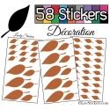 58 Stickers Feuilles Mixte - Autocollant Décoration Intérieur