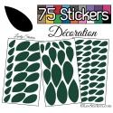 75 Stickers Feuilles Mixte - Autocollant Décoration Intérieur