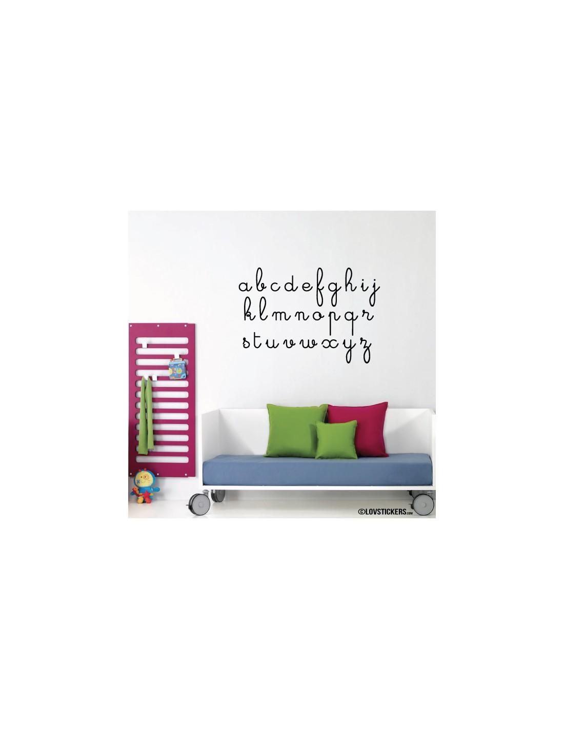 Sticker abcdaire lettres cursives cole maternelle pour for Decoration murale ecriture