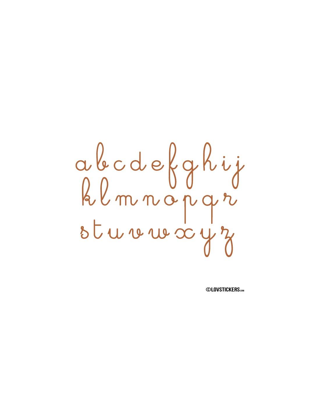 Sticker abcdaire lettres cursives cole maternelle pour d coratif et ducatif - Decoration ecriture murale ...