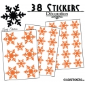 38 Stickers flocons de neige - Autocollant Décoration de Noel