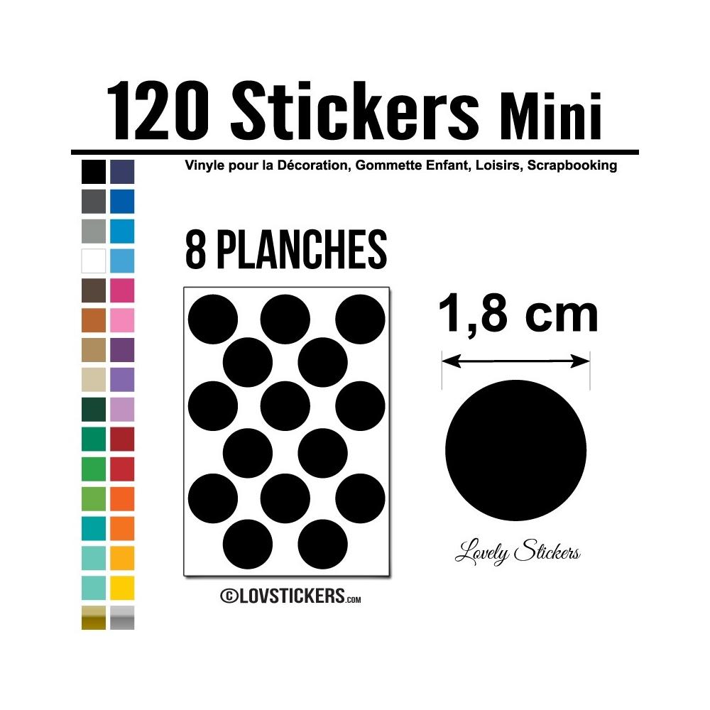 120 Stickers Ronds 1,8 cm - Décoration Gommette Loisirs - Vinyle Repositionnable