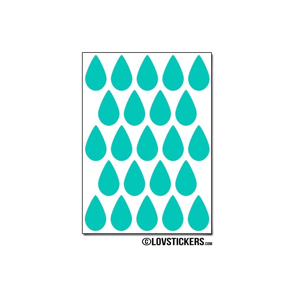 184 Stickers Goutte d'eau 2cm - Décoration Gommette Loisirs - Vinyle Repositionnable