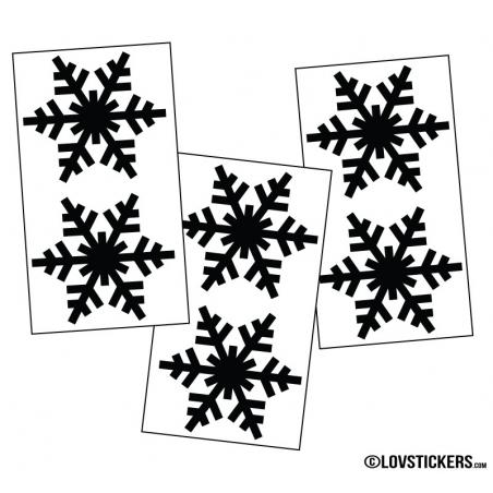 6 flocons de neige 10cm- Autocollant Décoration de Noel