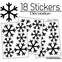 18 Stickers flocons de neige - Autocollant Décoration de Noel