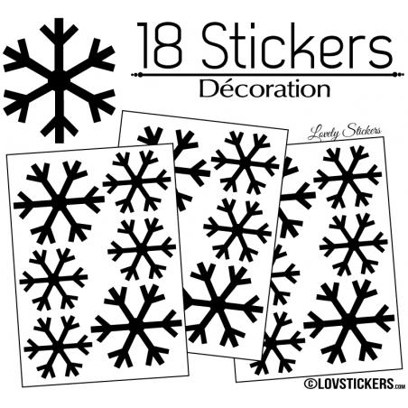 18 Stickers flocons de neige 6 et 8 cm - Autocollant Décoration de Noel
