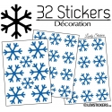 32 Stickers flocons de neige - Autocollant Décoration de Noel