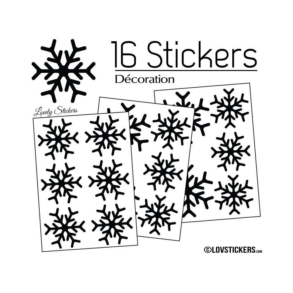 16 Stickers flocons de neige - Autocollant Décoration de Noel