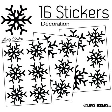 16 Stickers flocons de neige 6 et 8 cm - Autocollant Décoration de Noel
