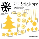 28 Stickers Noel non permanent - Autocollant Décoration Hivers et Noel