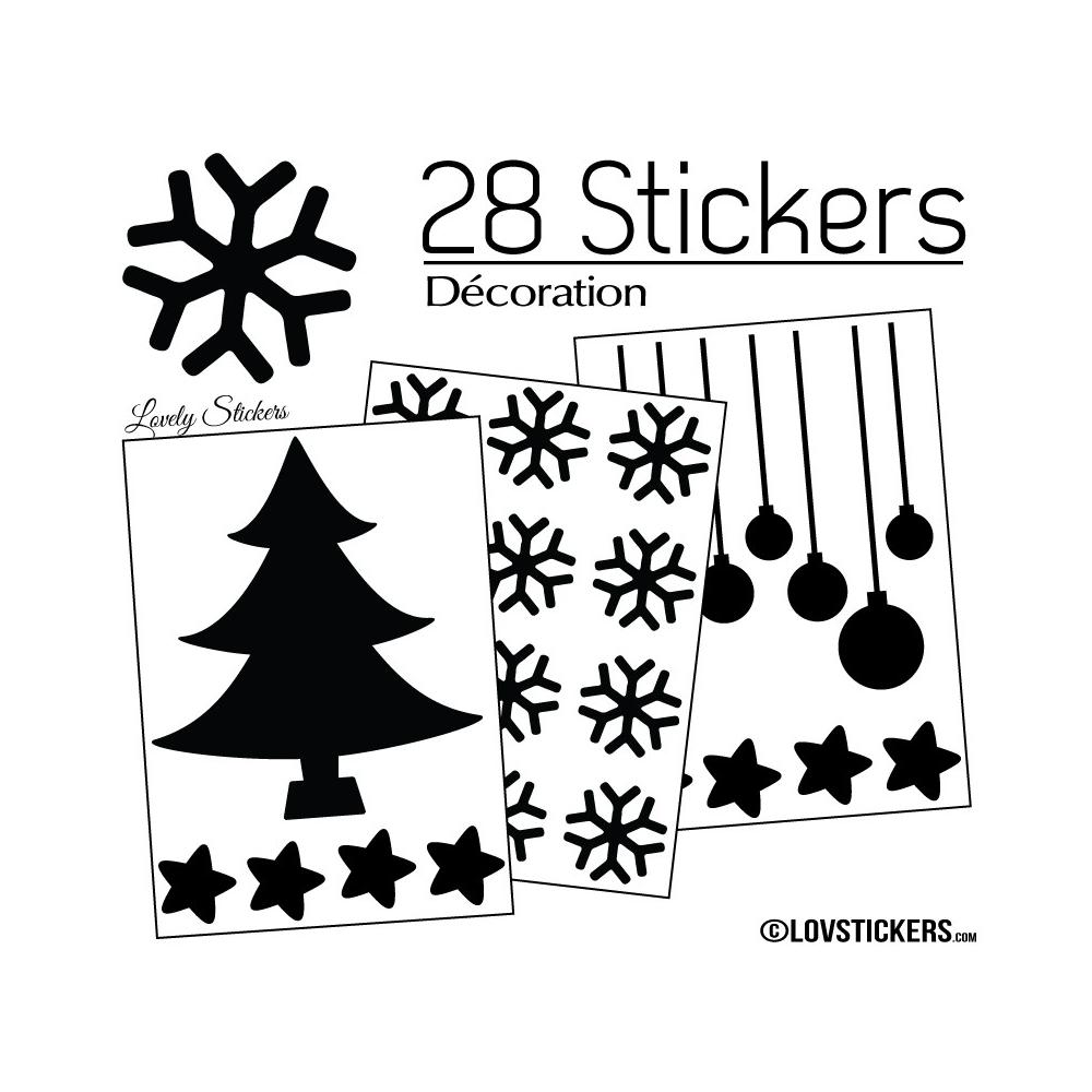 28 Stickers Noel non permanent - Autocollant Décoration Hivers et Noel