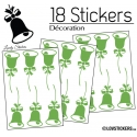 18 Stickers Cloches de Noel - non permanent - Autocollant Décoration Hivers et Noel