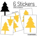 6 Stickers Cloches de Noel - non permanent - Autocollant Décoration Hivers et Noel