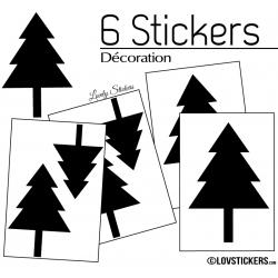 6 Stickers Cloches de Noel - non permanent - Autocollant Décoration Hivers et Noel