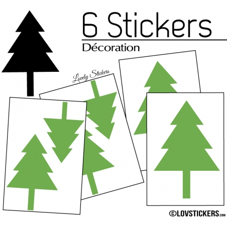 6 Stickers Sapin de Noel - non permanent - Autocollant Décoration Hivers et Noel