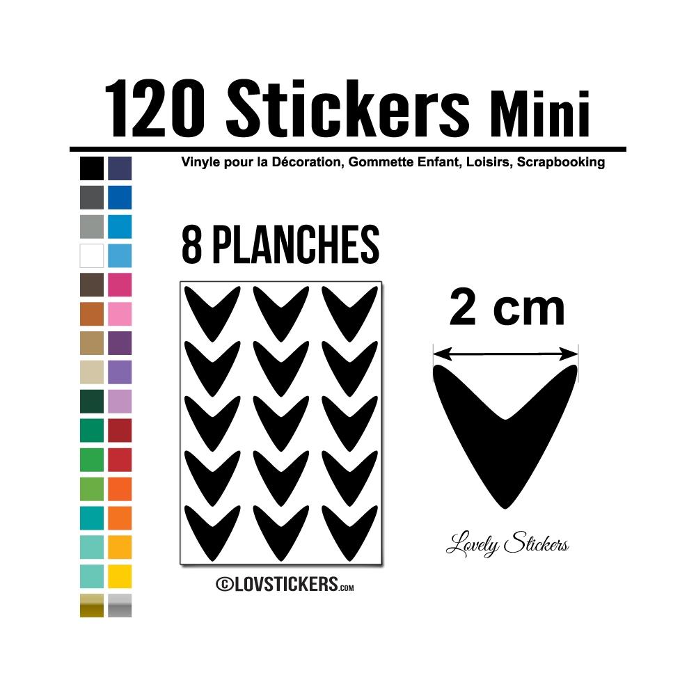 120 Flèches 2 cm - Gommette Deco - Repositionnable - Vinyle