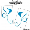 2 Stickers Florale - Deco auto voiture
