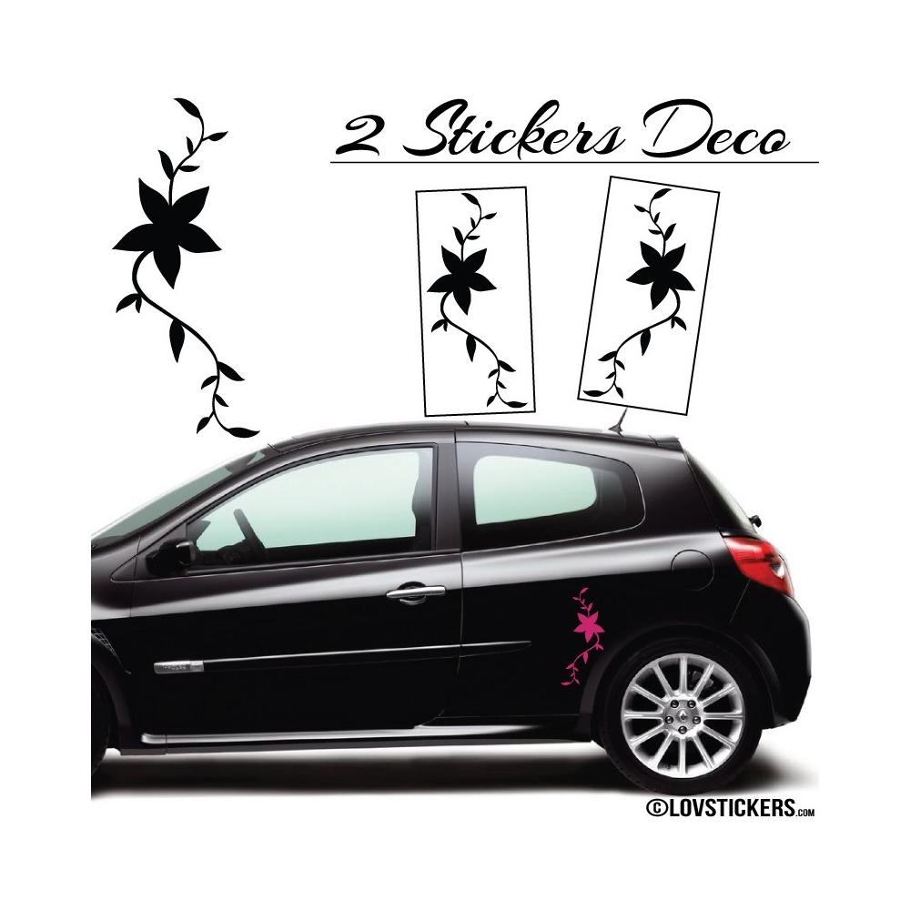 2 Stickers Florale - Deco auto voiture