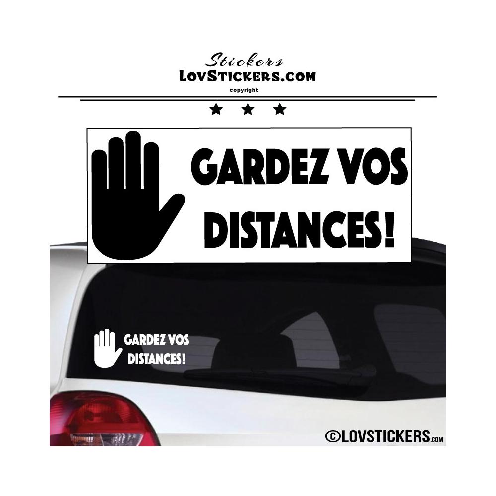 Sticker Prevention Voiture - GARDEZ VOS DISTANCES !