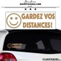 Sticker Prevention Voiture - GARDEZ VOS DISTANCES ! avec Emoji