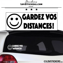 Sticker Prevention Voiture - GARDEZ VOS DISTANCES ! avec Emoji