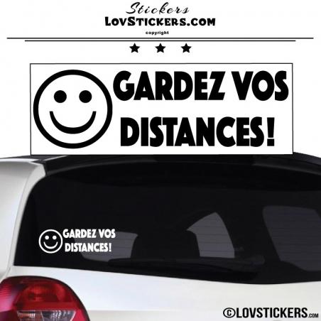 Sticker Prevention Voiture - GARDEZ VOS DISTANCES ! avec emoji Sourire