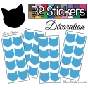 32 Chats 4 cm Stickers - Autocollant