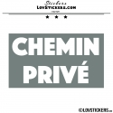 Sticker CHEMIN PRIVÉ sur fond - Lot de 2 - Lettrage à coller