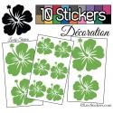 10 Stickers Hibiscus Mixte - Autocollant Décoration Intérieur