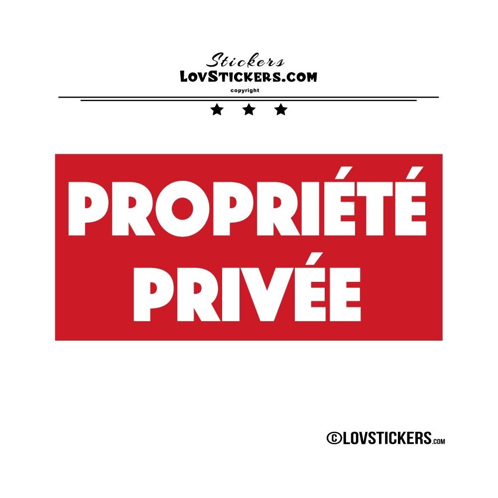 Sticker PROPRIÉTÉ PRIVÉE sur fond - Lot de 2 - Lettrage à coller